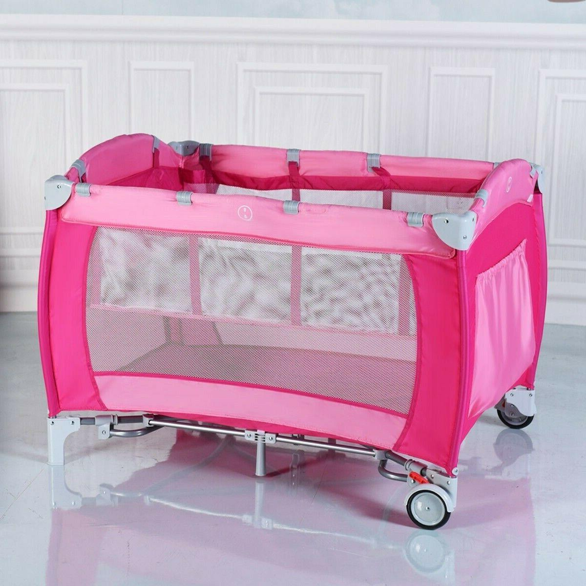 Baby Crib Foldable Infant Bassinet Portable
