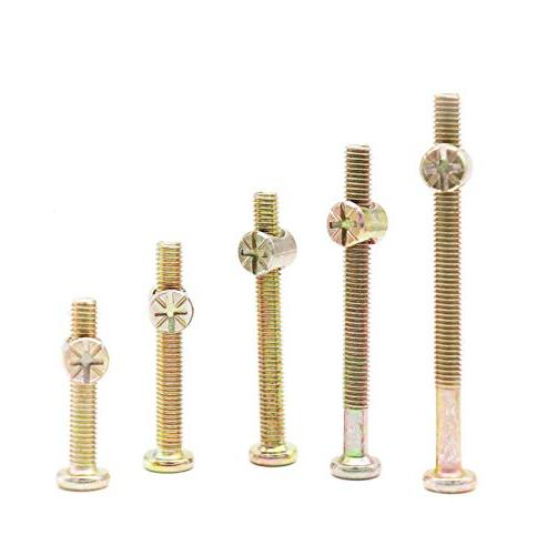 binifiMux Baby Replacement Plated Hex Bolts Barrel Nuts for Crib Cot Bed Furniture, x 35mm/ 55mm/ 65mm/ 75mm