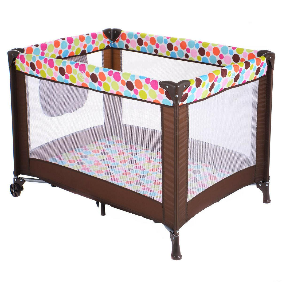 Baby Crib Bed Toddler Travel Bassinet Playpen Pad