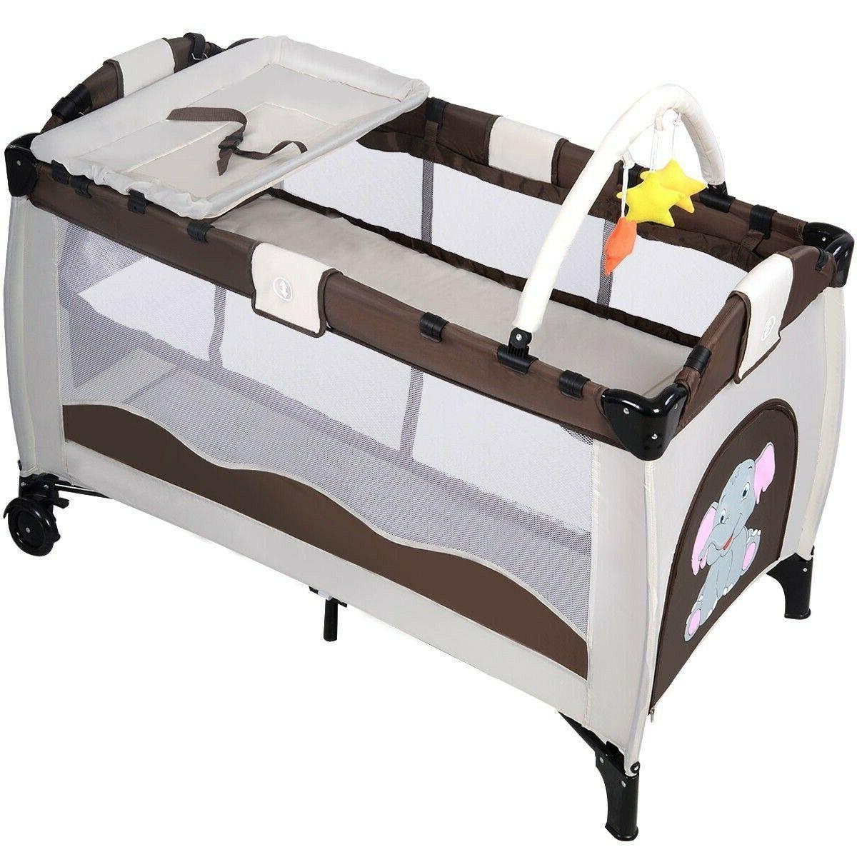 Baby Foldable Bed Crib Portable Playpen