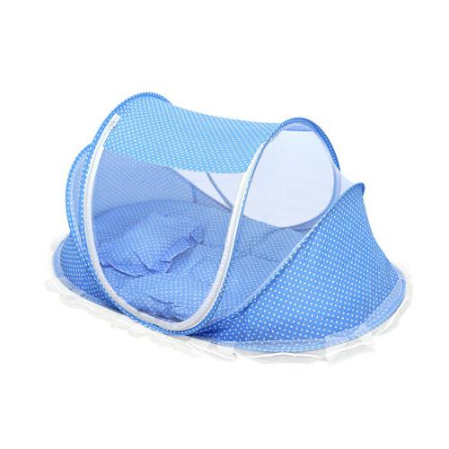 Blue Foldable Infant Mosquito Net Tent Cradle Bed -XU01
