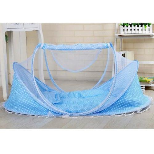 Blue Foldable Infant Baby Mosquito Tent Bed Pillow