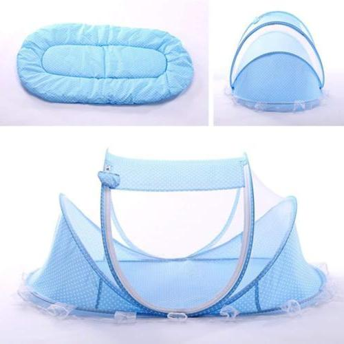 blue foldable infant baby mosquito net travel