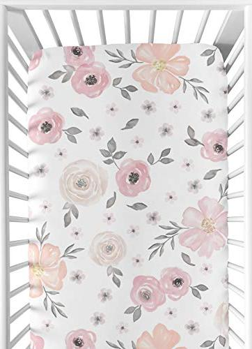 Sweet Jojo Pink, and Baby or Fitted Crib Floral Collection