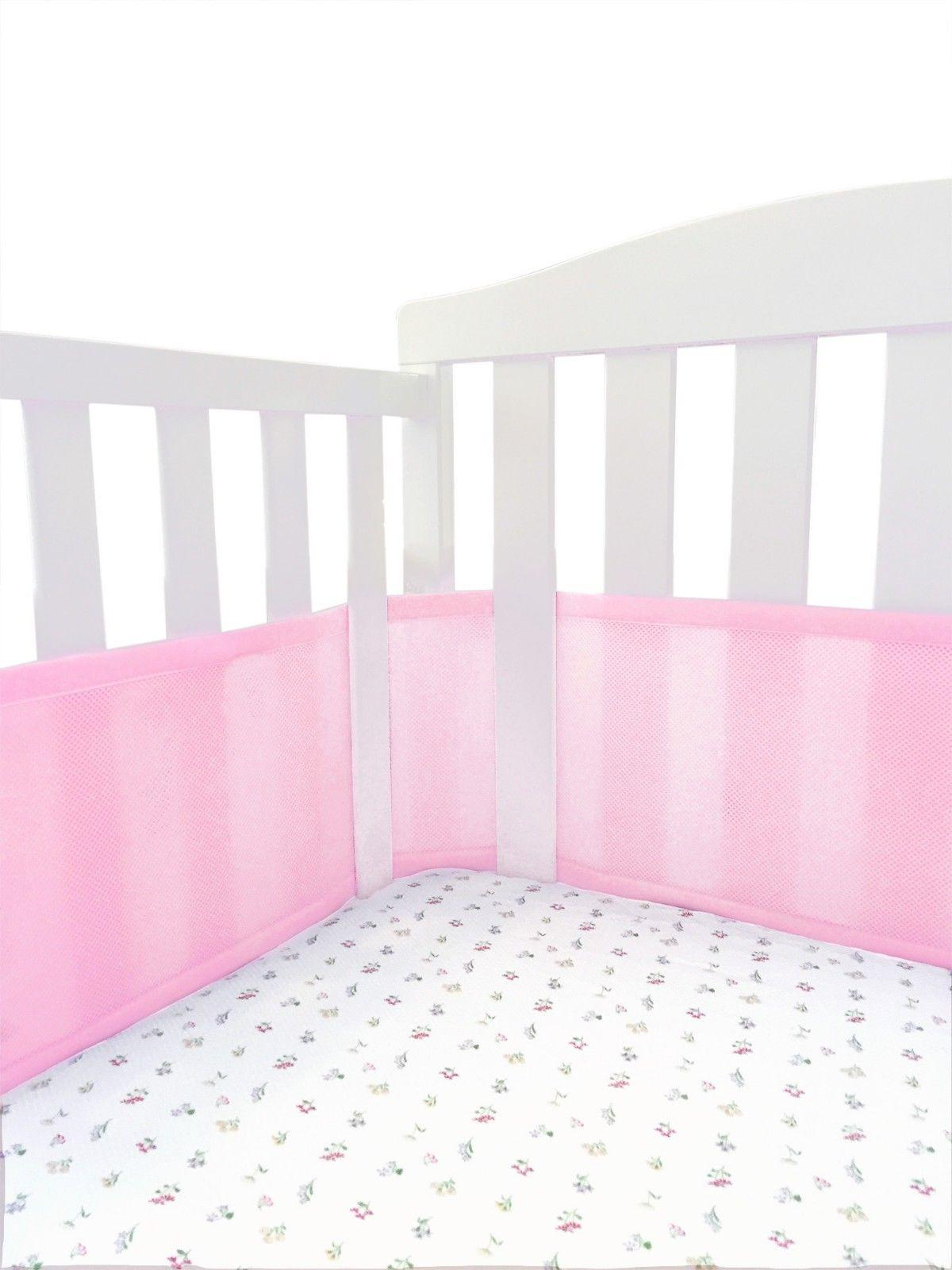Baby Mini Crib Pads Breathable Portable Crib Bumper Pink Mesh Liner for Cradle