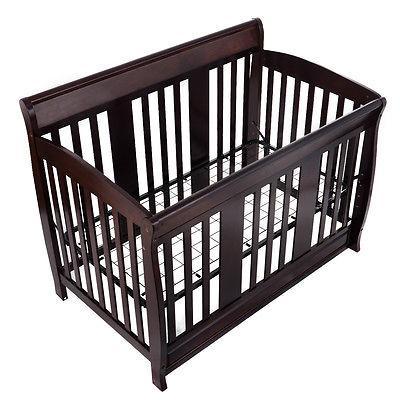 Coffee Color Baby Crib 4 in 1 Convertible Toddler Bed Daybed