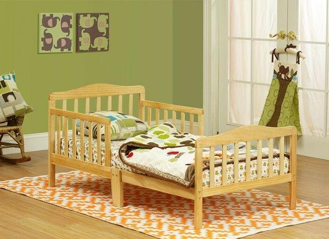 The Orbelle Contemporary Solid Wood Toddler Bed -, Natural,