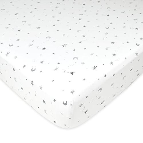 American Baby American Baby 3 100% Cotton Fitted Crib Standard Crib and Toddler Mattresses, Grey Star/Zigzag, Boys