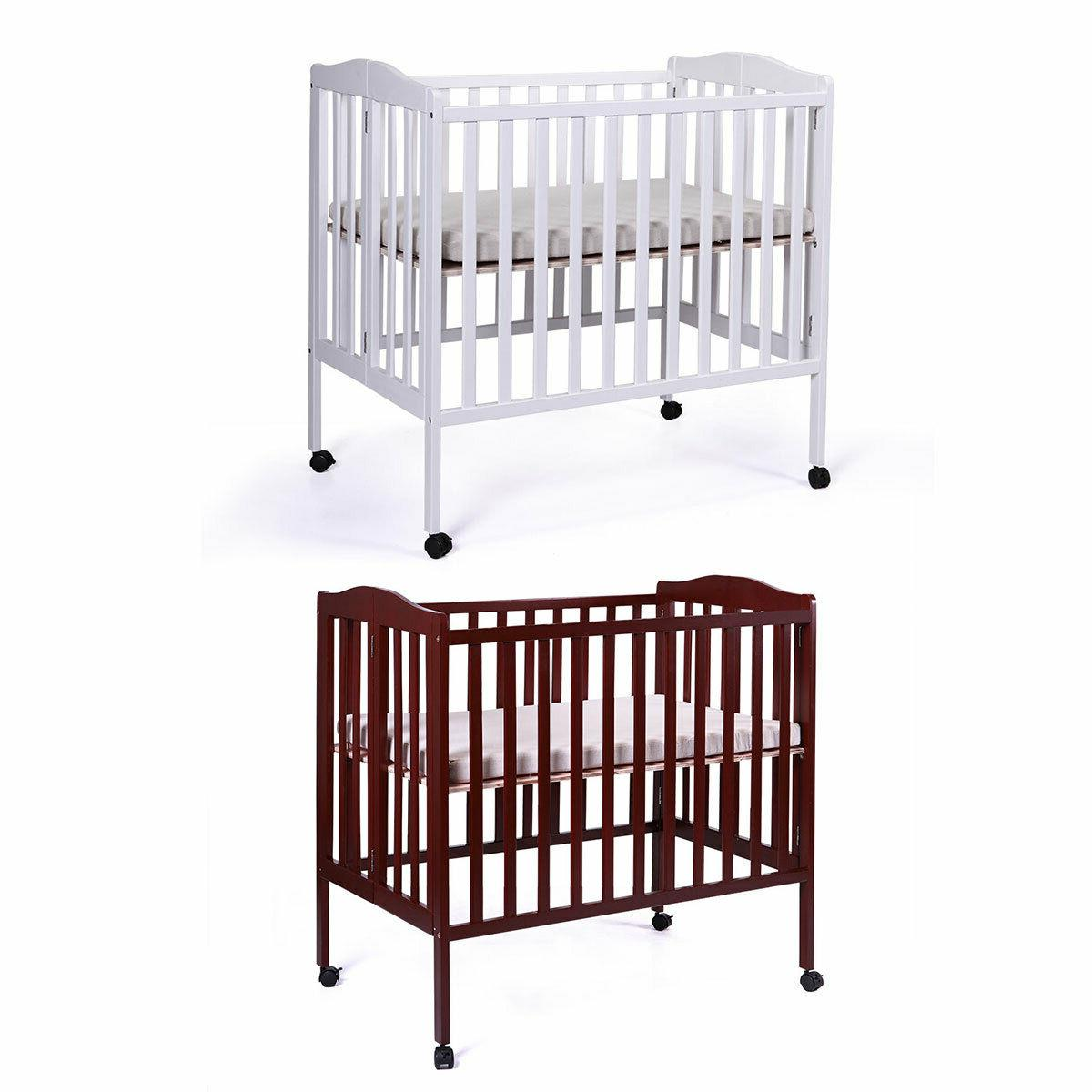 foldable cradle pine wood baby toddler bed