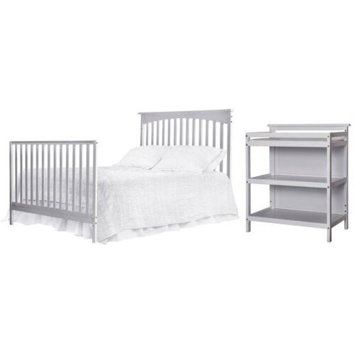 Gray Convertible 5-in-1 Bed Baby Toddler Nursery