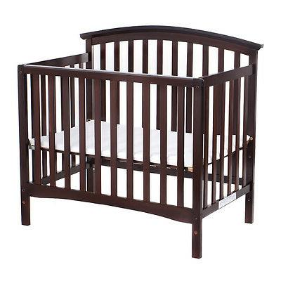 Pine Wood Baby Bed Convertible Infant Newborn Coffee/