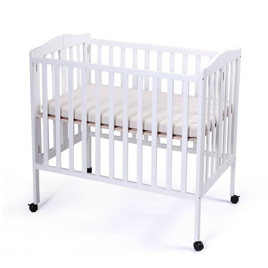 Pine Wood Baby Toddler Bed Nursery Infant Newborn Foldable