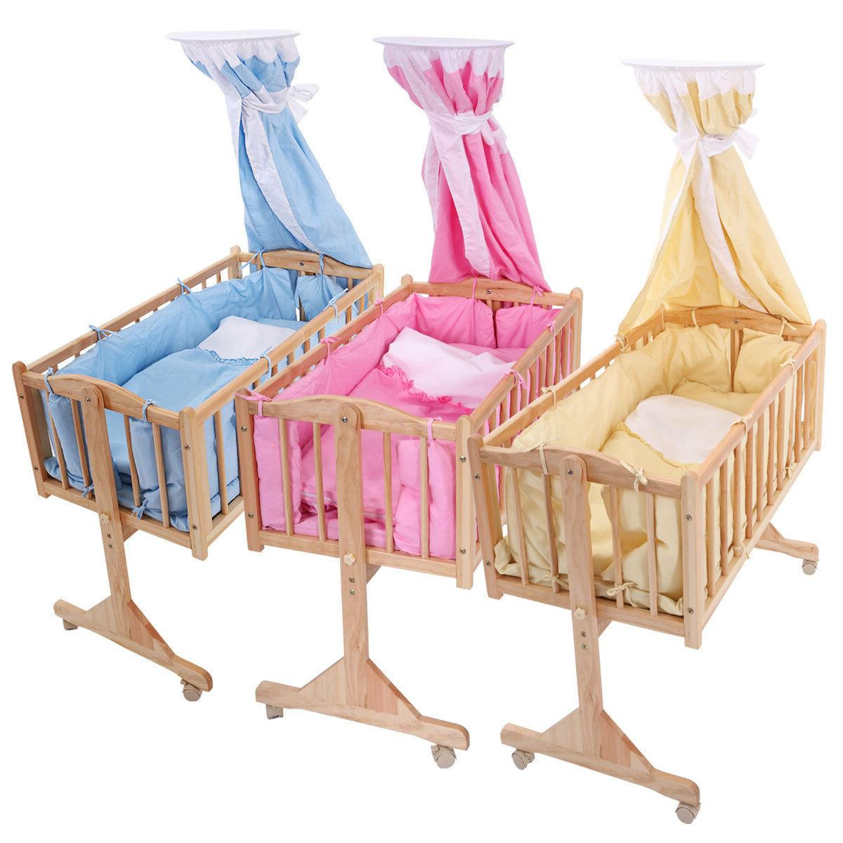 pine wood newborn baby toddler bed cradle