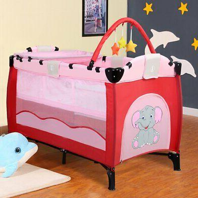 Giantex Pink Baby Crib Playpen Playard Pack Travel Infant Foldable
