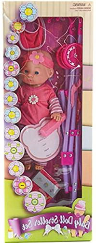 Pink Baby Doll Walking Play Set w/ Stroller and Accessories