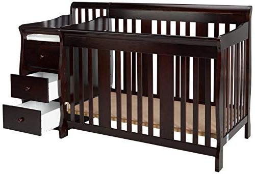 Storkcraft Fixed Side and Changer, Espresso, Converts to Toddler Bed Day Bed or Full Bed, Three Position Adjustable