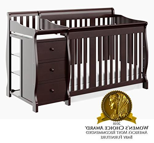 Storkcraft Fixed Side Convertible Crib Changer, Espresso, Easily Converts to Bed or Bed, Three Adjustable Mattress