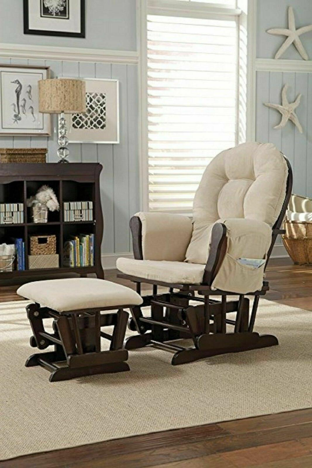 Rocker Glider Rocking Chair Ottoman Baby Nursery Easy Feeding