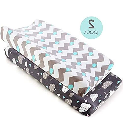 COSMOPLUS Pad Cover Stretchy Changing Table Covers for Boys Girls, Whale/Cloud