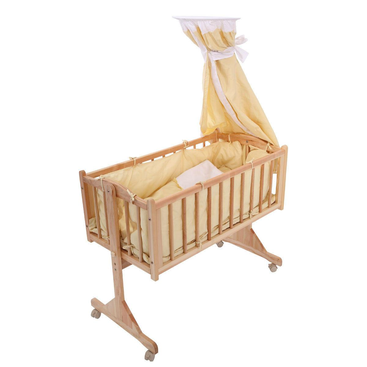 Wood Baby Cradle Rocking Bassinet