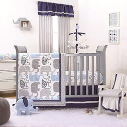 Little Peanut Navy Blue and Grey Elephants 4 Piece Baby Crib