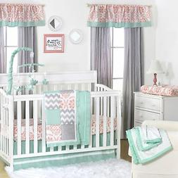 Medallion Medley Coral & Mint Baby Crib Bedding - 11 Piece S
