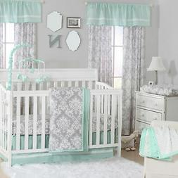 Minted Damask Grey and Green Baby Crib Bedding - 20 Piece Nu