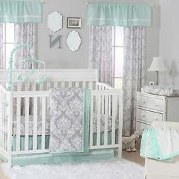 Minted Damask Grey and Green Baby Crib Bedding - 11 Piece Sl