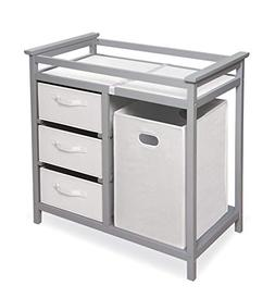 Modern Baby Changing Table with Laundry Hamper, 3 Storage Ba
