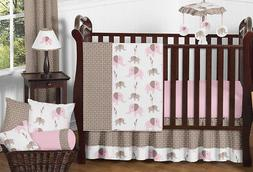 Modern Pink and Brown Mod Elephant Baby Girl Bedding 11pc Cr
