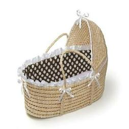Natural Moses Basket with Hood and Brown Polka Dot Bedding