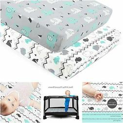 Pack n Play Stretchy Fitted Pack n Play Playard Sheet Set-Br