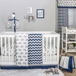 Navy Chevron and Grey Elephant 4 Piece Baby Crib Bedding Set