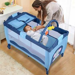 New Blue Baby Crib Playpen Playard Pack Travel Infant Bassin