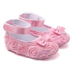 Newborn Baby Girl Crib Shoes Toddler Soft Sole Rose Flower P