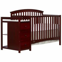 Dream On Me Niko 5-in-1 Convertible Crib with Changer, Cherr