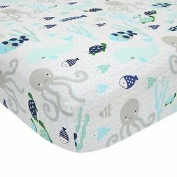 Lambs & Ivy Oceania 100% Cotton Fitted Crib Sheet - White wi