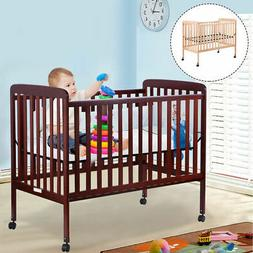 Pine Wood Baby CribToddler Bed Convertible Nursery Infant Ne
