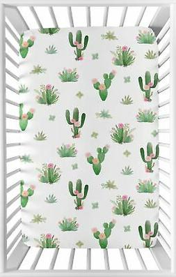 Pink Green Cactus Floral Boho Watercolor Baby Fitted Mini Po