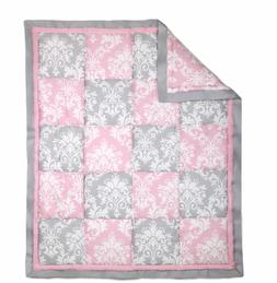 Pink and Grey Damask Patchwork 3 Piece Baby Crib Bedding Set