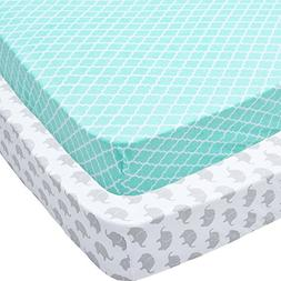 Playard Sheets, 2 Pack Mint Quatrefoil & Elephants Fitted So