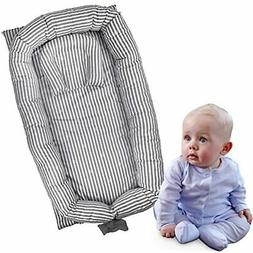 Portable Crib For Bedroom/Travel - Grey Striped Newborn Baby