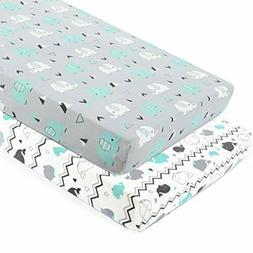 Portable Mini Crib Sheets Stretchy Fitted Pack Playard Sheet