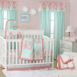 Pretty Patch Medallion Coral/Mint Crib Bedding - 11 Piece Sl