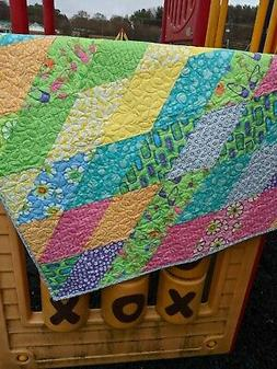 Quilt for Baby-Toddler Child-Bright Flowers Quilt-Crib Quilt