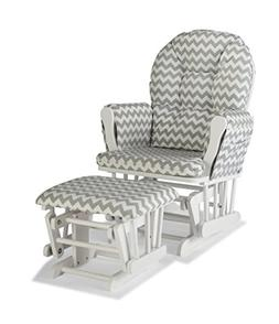 Stork Craft Hoop Custom Glider/Ottoman - White/Gray Chevron