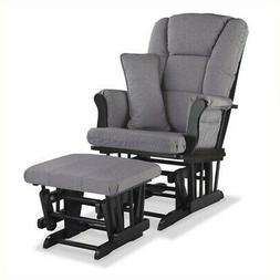 Stork Craft Tuscany Custom Glider/Ottoman - Black/Slate Gray