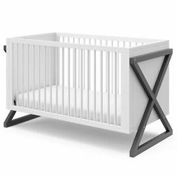 Storkcraft Equinox 3 in 1 Convertible Crib in White and Gray