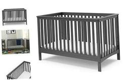 Storkcraft Hillcrest Fixed Side Convertible Crib, Gray, Easi