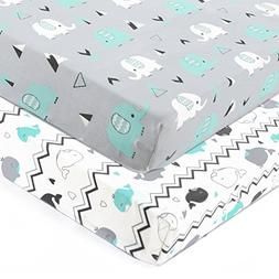 Stretchy Fitted Crib Sheets Set-Brolex 2 Pack Portable Crib
